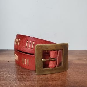 Express | Red Embroidered Leather Boho Belt M